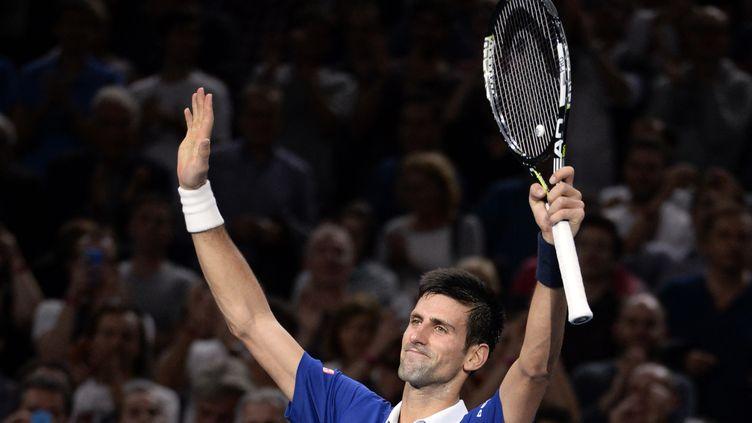 Novak Djokovic soulagé après sa victoire au forceps sur Tomas Berdych (MIGUEL MEDINA / AFP)