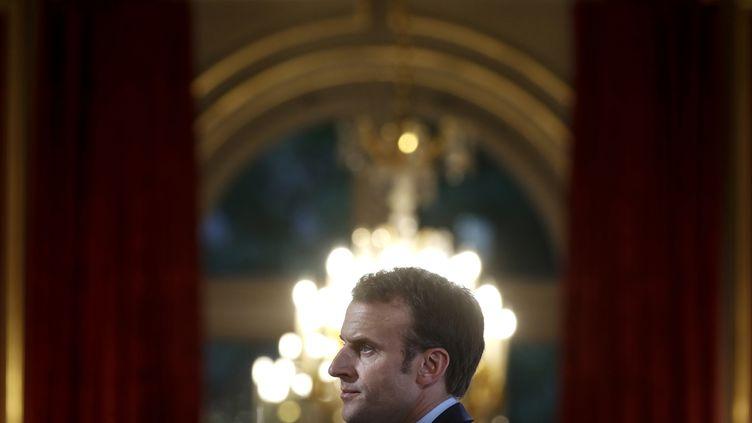 Emmanuel Macron, le 27 avril2018, àParis. (CHRISTIAN HARTMANN / POOL)