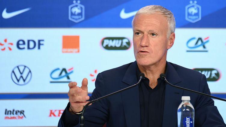 Didier Deschamps lors de la conférence de presse du 9 novembre. (FRANCK FIFE / AFP)