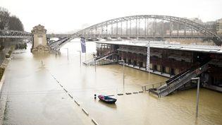 Le Seine en crue à Paris, le 22 janvier 2018. (STEPHANE DE SAKUTIN / AFP)