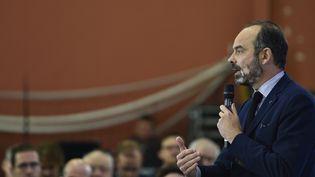 Le Premier ministre Edouard Philippe, le 13 décembre 2019, à Nancy, lors d'un débat avec des enseignant sur la réforme des retraites. (JEAN-CHRISTOPHE VERHAEGEN / AFP)