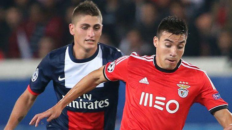 Nicolas Gaitan face à Marco Verratti lors du PSG-Benfica en septembre dernier