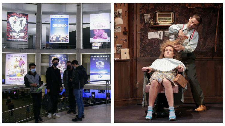 """Une salle de cinéma parisienne et une représentation de la pièce """"Le Petit Coiffeur"""" de Jean-Philippe Daguerre. (QUENTIN DE GROEVE AFP / PASCAL ZELCER / FABIENNE RAPPENEAU)"""