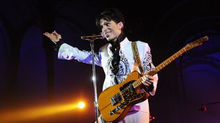 Prince sur scène au Grand Palais, à Paris, le 11 octobre 2009. (BERTRAND GUAY / AFP)