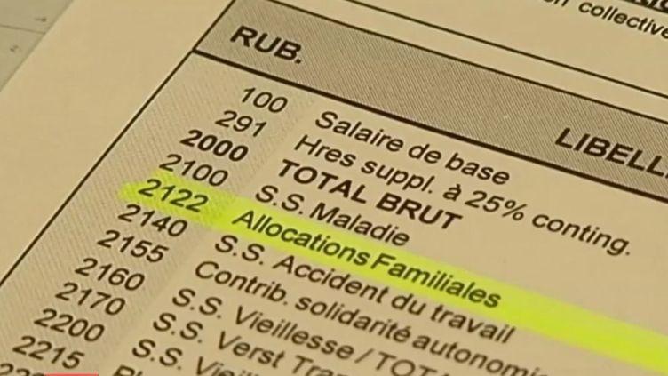 Capture d'écran d'une fiche de paie de la société Faber France (Nord), le 15 janvier 2014. ( FRANCE 2 / FRANCETV INFO)