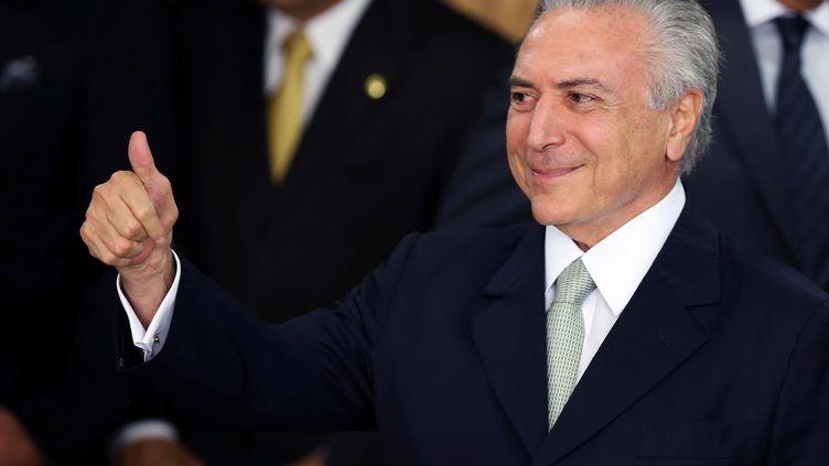 Michel Temer, après le vote au Sénat sur la destitution de Dilma Rousseff, jeudi 12 mai 2016. (ADRIANO MACHADO / REUTERS)