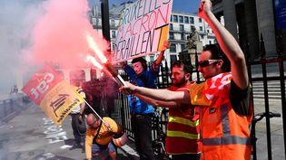 Des cheminots en grève contre la réforme de la SNCF, le 24 avril 2018 à Paris. (MAXPPP)