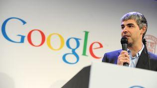 Larry Page, le PDG de Google, le 21 mai 2012 à New York (Etats-Unis). Il a annoncé le lancement d'une entreprise centrée sur la santé et le bien-être, le 18 septembre 2013. (MAXPPP)