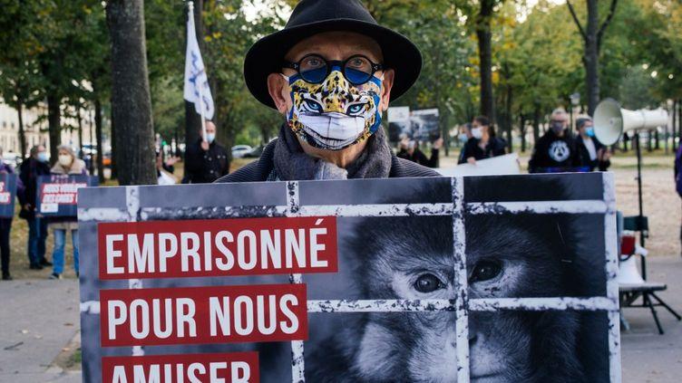 Manifestation des défenseurs des animaux aux abords de l'Assemblée nationale, après l'échec du vote de la proposition de loi de Cédric Villani sur les maltraitances animales, en octobre 2020. (MARIE MAGNIN / HANS LUCAS)