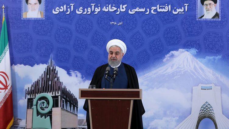 Hassan Roani, président iranien, annonce la reprise des activités nucléaires, mardi 5 novembre à Téhéran (Iran). (HO / AFP)