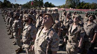 Des légionnaires participent à une cérémonie dans la caserne d'Alvarez de Sotomayor à Alméria (Espagne). (JORGE GUERRERO / AFP)