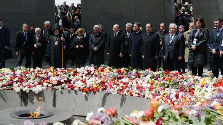 Célébrations du centenaire du génocide arménien auxquelles participaient François Hollande et Vladimir Poutine à Erevan, en Arménie. (AFP / Aleksey Nikolskyi/RIA Novosti)
