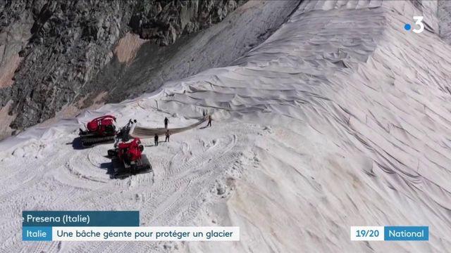 Italie : une bâche géante installée pour protéger un glacier