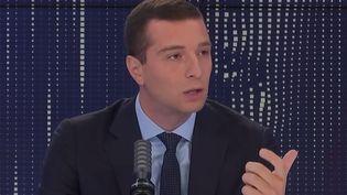 Jordan Bardella, président du Rassemblement national, était l'invité de franceinfo, le 6 septembre 2021. (FRANCEINFO / RADIO FRANCE)
