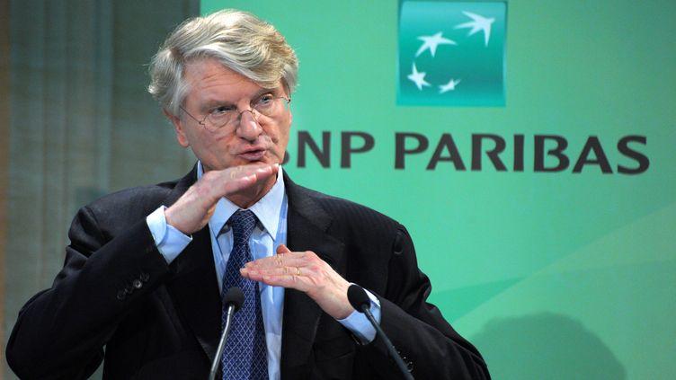 Le directeur général de BNP Paribas, Baudouin Prot, lors d'une conférence de presse le 17 février 2011 à Paris. (ERIC PIERMONT / AFP)