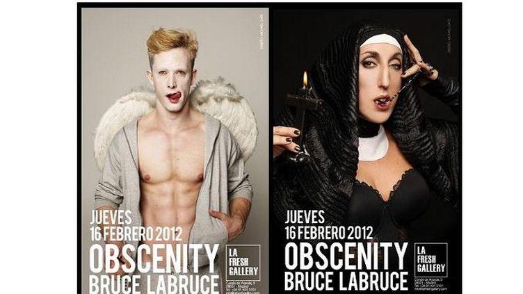 """Affiches de l'exposition """"Obscenity"""", inaugurée le 16 février 2012à La Fresh Gallery, à Madrid (Espagne). (BRUCE LABRUCE / LA FRESH GALLERY)"""