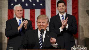 Donald Trumplors de son discours devant le Congrès, mardi 28 février,à Washington (Etats-Unis). (POOL NEW / REUTERS)