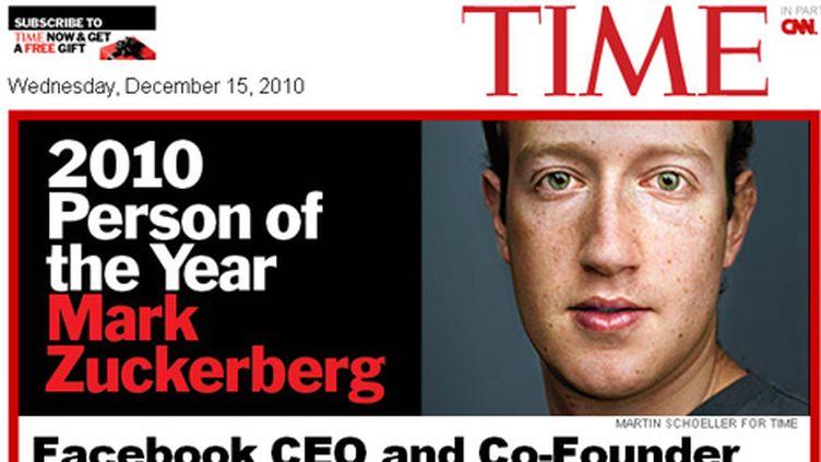 Mark Zuckerberg personnalité de l'année 2010 de Time