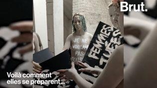 """VIDEO. """"Il faut porter la douleur de ces femmes"""" : dans les coulisses d'une action choc des Femen (BRUT)"""