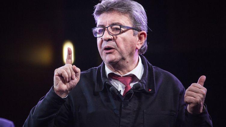 Jean-Luc Mélenchon lors d'un meeting contre la réforme des retraites, à Toulouse, le 20 février 2020. (PATRICIA HUCHOT-BOISSIER / HANS LUCAS / AFP)
