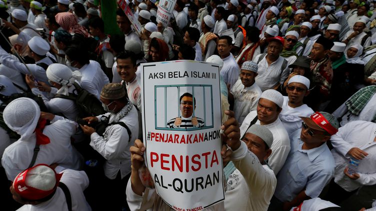 Manifestation contre le gouverneur chrétien de Jakarta, en Indonésie, le 2 décembre 2016. (BEAWIHARTA BEAWIHARTA / REUTERS)