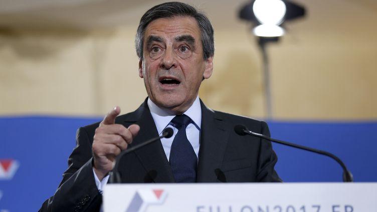 François Fillon lors d'un discours à Paris, le 27 novembre 2016. (THOMAS SAMSON / AFP)