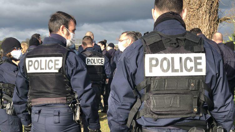 Les policiers lors de la battue organisée pour retrouver Céline Vervaele, le vendredi 19 mars. (NARJISSE EL GOURARI / MAXPPP)