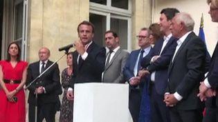 Le Président Emmanuel Macron devant les parlementaires de la majorité, le 24 juillet à la maison de l'Amérique latine. (- / UGC)
