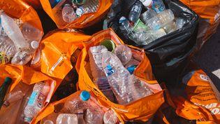 Des bouteilles en plastiquesrécoltées lors d'une opération de nettoyage sur la plage du Prado, à Marseille, en septembre 2018 (image d'illustration). (THEO GIACOMETTI / HANS LUCAS)