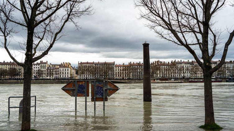 Les quais du Rhône lors d'un épisode de crue, le 3 février 2021 à Lyon. (NICOLAS LIPONNE / HANS LUCAS)