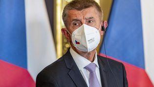 Le Premier ministre tchèque Andrej Babis assiste à une conférence de presse à Usti nad Labem, en République tchèque, le 29 septembre 2021. (MARTIN DIVISEK / EPA / MAXPPP)