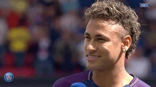 Le joueur brésilien Neymar lors de sa présentation au public du Parc des Princes, le 5 août 2017 à Paris. (DAILYMOTION / PSG)