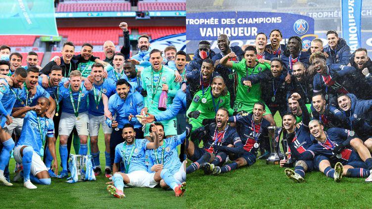 Manchester City après sa victoire en Coupe de la Ligue anglaise en avril 2021 (gauche) et le PSG après avoir remporté le Trophée des champions, en janvier 2021 (droite). (ADAM DAVY / PRESS ASSOCIATION IMAGES / MAXPPP / DENIS CHARLET / AFP)