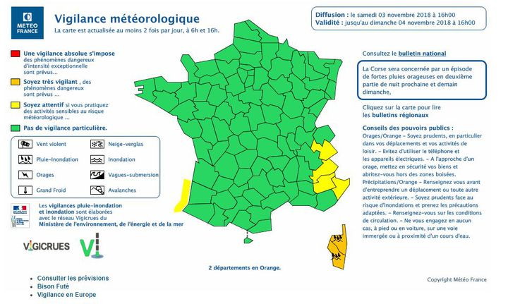 """Météo France a placé samedi 3 novembre la Corse-du-Sud et la Haute-Corse en vigilance orange """"pluie-inondation"""". (METEOFRANCE)"""