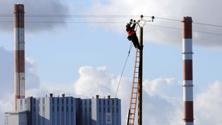 Un technicien d'ERDF répare une ligne électrique endommagée après le passage de la tempête Joachim, le 16 décembre 2011 à Cordemais (Loire-Atlantique). (FRANK PERRY / AFP)