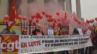 Le syndicat CGT manifeste contre la loi Macron le 10 février 2015 à Paris. (CITIZENSIDE/REMY  SINGH VALLOIS / CITIZENSIDE.COM)