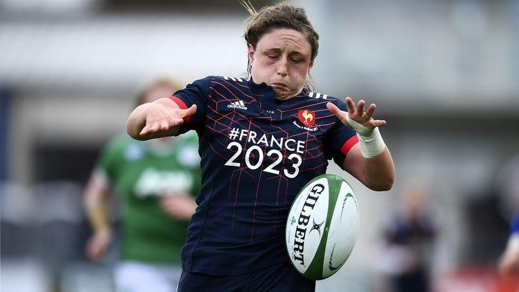Gaëlle Mignot, la capitaine du XV de France de rugby féminin (FRANCK FIFE / AFP)
