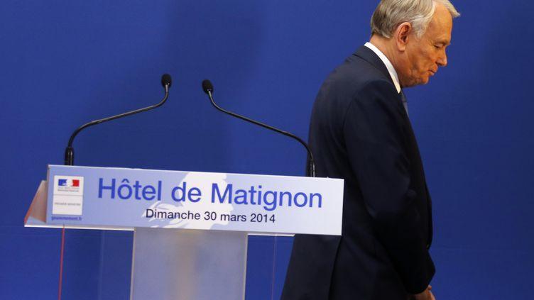 Le Premier ministreJean-Marc Ayrault, le 30 mars 2014, à l'Hôtel Matignon à Paris. (FRANCOIS GUILLOT / AFP)