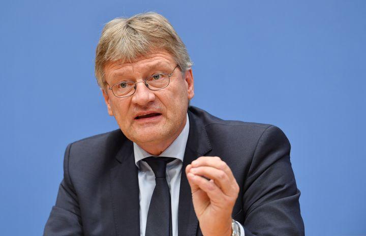 Jörg Meuthen, porte-parole de l'AfD, lors d'une conférence de presse, à Berlin (Allemagne), le 25 septembre 2017. (JULIAN STRATENSCHULTE / DPA / AFP)