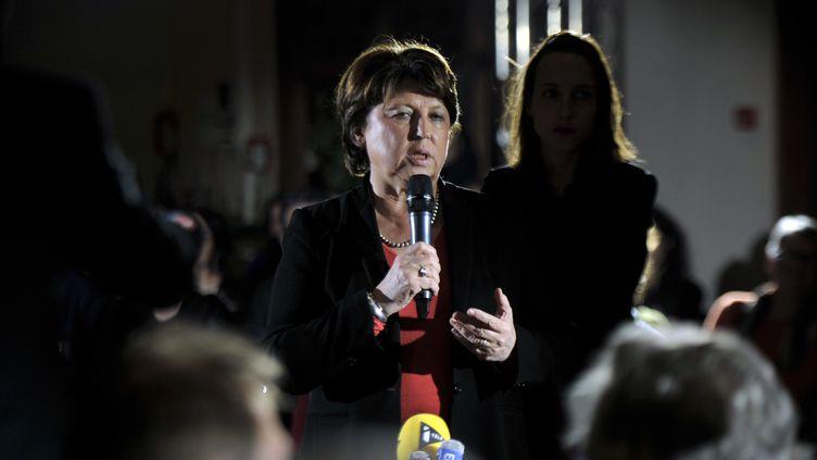 Martine Aubry, lors d'une réunion publique à Lille (Nord), le 25 février 2016. (FRANCOIS LO PRESTI / AFP)