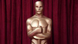 Une statue des Oscars, installée avant la 91e cérémonie annuelle des Oscars à Hollywood (Californie, Etats-Unis), en février 2019. (MARK RALSTON / AFP)