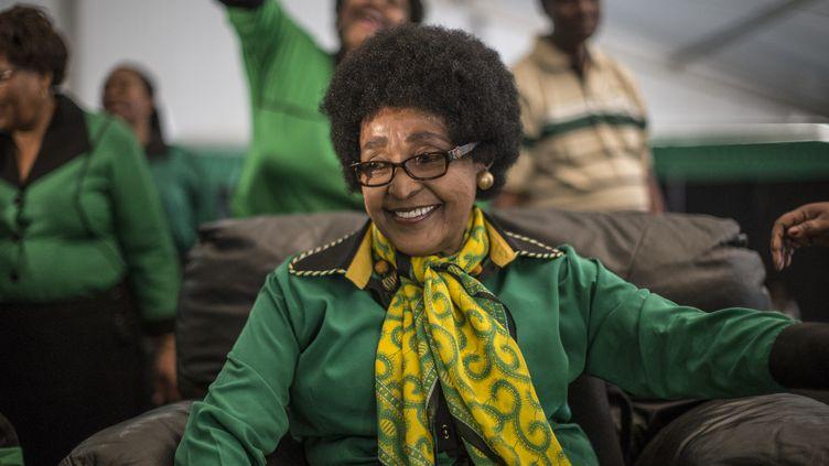 Winnie Mandela, le 26 septembre 2016 lors de son 80e anniversaire à Soweto (Afrique du Sud). (MARCO LONGARI / AFP)