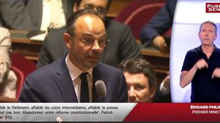 Edouard Philippe lors des questions d'actualité au gouvernement du Sénat le 24 juillet 2018 (Public sénat)
