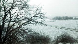 La neige a recouvertCormeilles-en-Parisis (Val-d'Oise), le 17 mars 2018. (MAXPPP)