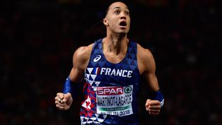 Le Français, Pascal Martinot-Lagarde, champion d'Europe du 110 m haies, à Berlin, le 10 août 2018. (JOHN MACDOUGALL / AFP)