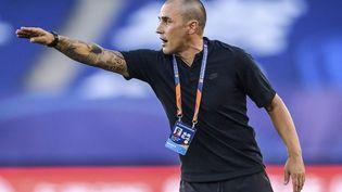 L'entraîneur italien Fabio Cannavaro lors d'un match duGuangzhou Evergrande, devenu Guangzhou FC, face auShanghai Shenhua, le 25 juillet 2020. (STR / AFP)