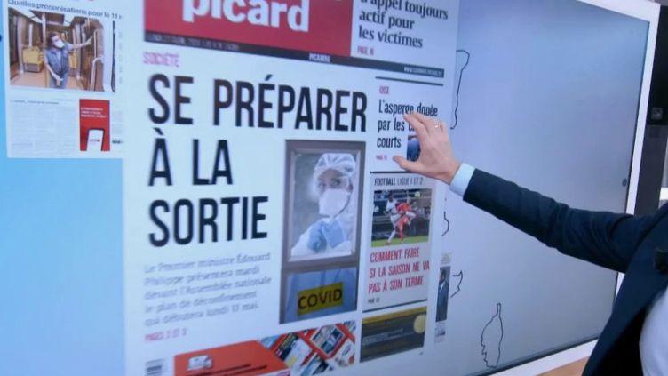 Chaque midi, le journaliste Samuel Étienne fait un tour des unes des quotidiens de la presse locale. Lundi 27 avril, il est beaucoup question du déconfinement. (FRANCE 2)