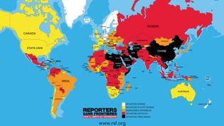 La carte de la liberté de la presse dans le monde établie par Reporters sans frontières le 26 avril 2017. (REPORTERS SANS FRONTIERES)