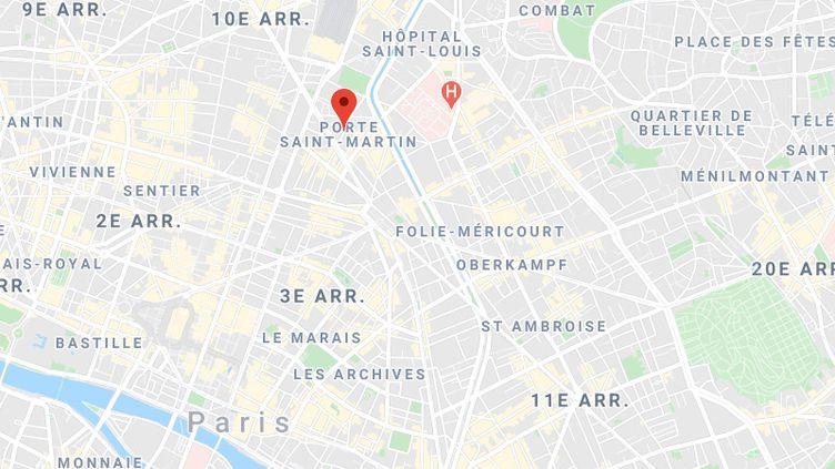 Le feu a pris dans unparc de stationnement couvert, rue Lucien Sampaix, dans le 10ème arrondissement de Paris, dans la nuit du dimanche 11 au lundi 12 octobre 2020. (GOOGLE MAPS)
