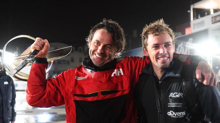 28 janvier 2021. Yannick Bestaven, le vainqueur de la 9e édition du Vendée Globe à l'arrivée aux Sables d'Olonne aux côtés de Thomas Ruyant, arrivé 6e malgré des avaries. (PHOTOPQR / LE TELEGRAMME / MAXPPP)